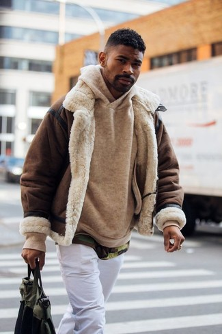 Wear a Brown Shearling Jacket For Men