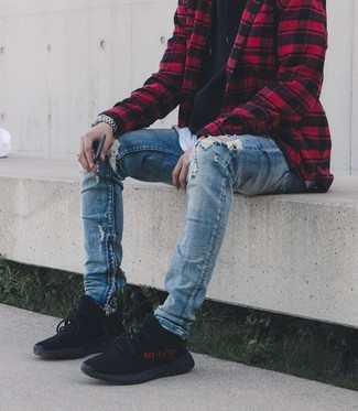 How to wear: blue ripped skinny jeans, white crew-neck t-shirt, black hoodie, red and black check shirt jacket