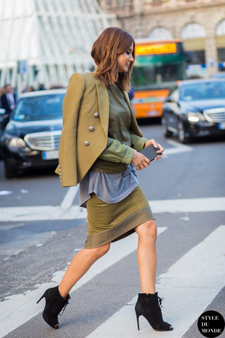 How to wear: olive pencil skirt, grey crew-neck t-shirt, olive long sleeve blouse, olive double breasted blazer