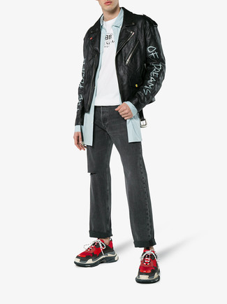 How to wear: charcoal ripped jeans, white and black print crew-neck t-shirt, light blue vertical striped long sleeve shirt, black print leather biker jacket