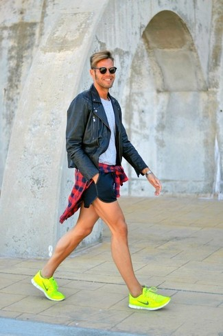 How to wear: navy shorts, grey crew-neck t-shirt, red and navy gingham long sleeve shirt, black leather biker jacket