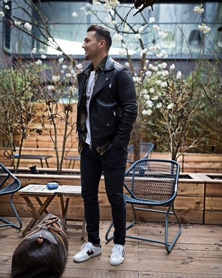 How to wear: black skinny jeans, white print crew-neck t-shirt, olive camouflage long sleeve shirt, black leather biker jacket