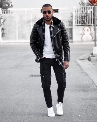 How to wear: black cargo pants, white crew-neck t-shirt, black and white plaid long sleeve shirt, black leather biker jacket