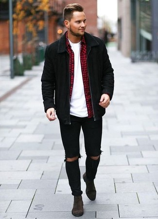 How to wear: black ripped skinny jeans, white crew-neck t-shirt, red gingham long sleeve shirt, black suede bomber jacket