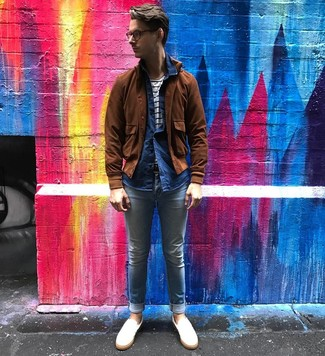 How to wear: light blue skinny jeans, white and navy horizontal striped crew-neck t-shirt, navy chambray long sleeve shirt, brown suede bomber jacket