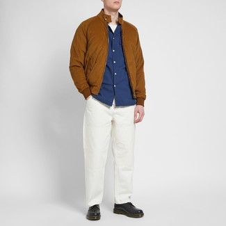 How to wear: white chinos, white crew-neck t-shirt, navy long sleeve shirt, tobacco suede bomber jacket