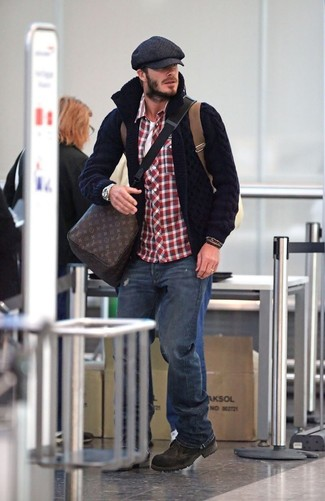 How to wear: navy jeans, white crew-neck t-shirt, white and red and navy gingham long sleeve shirt, navy knit cardigan