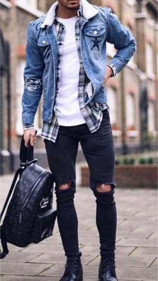 How to wear: black ripped skinny jeans, white crew-neck t-shirt, navy and white plaid long sleeve shirt, blue denim jacket