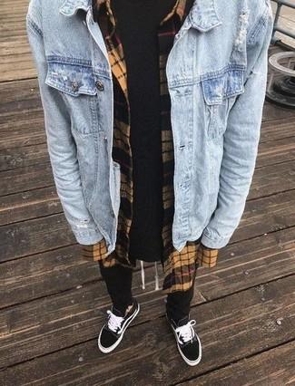 How to wear: black sweatpants, black crew-neck t-shirt, tan check flannel long sleeve shirt, light blue denim jacket