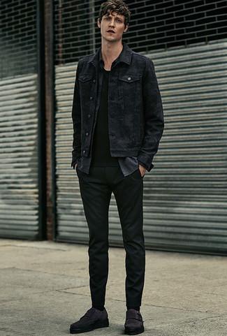 How to wear: black chinos, black crew-neck t-shirt, charcoal chambray long sleeve shirt, black denim jacket