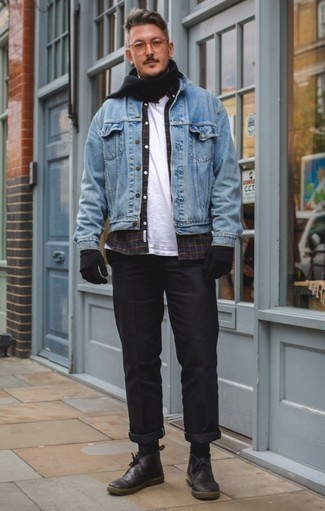 How to Wear Black Leather Desert Boots: A light blue denim jacket and black chinos are the ideal way to inject toned down dapperness into your day-to-day off-duty fashion mix. A pair of black leather desert boots is a goofproof footwear style here that's full of personality.