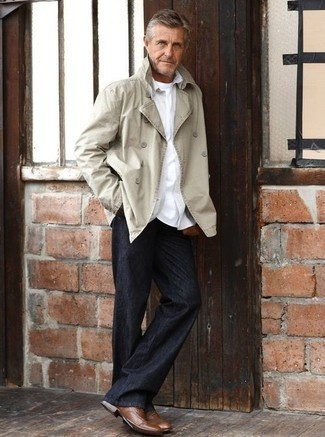 How to Wear a Beige Double Breasted Blazer For Men: You'll be amazed at how extremely easy it is for any man to put together this effortlessly classic outfit. Just a beige double breasted blazer worn with black chinos. A pair of brown leather oxford shoes will give a more refined twist to this look.