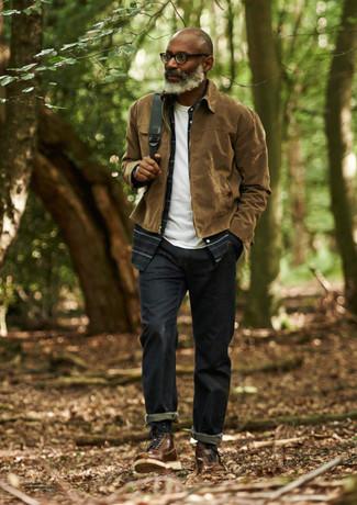 How to wear: navy jeans, white crew-neck t-shirt, navy plaid long sleeve shirt, brown harrington jacket