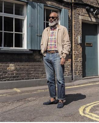 How to wear: navy jeans, white crew-neck t-shirt, multi colored plaid long sleeve shirt, beige harrington jacket