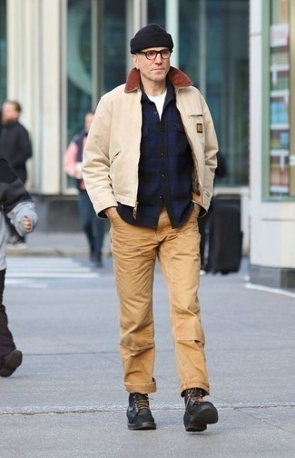 How to Wear a Beige Harrington Jacket: Why not pair a beige harrington jacket with khaki chinos? Both of these items are very functional and will look nice when paired together. Stick to a more elegant route in the footwear department by slipping into black leather casual boots.