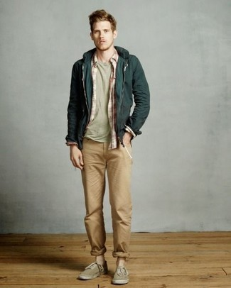 How to wear: khaki chinos, olive crew-neck t-shirt, red and white plaid long sleeve shirt, dark green hoodie