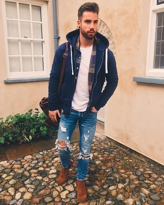 How to wear: blue ripped skinny jeans, white crew-neck t-shirt, navy plaid flannel long sleeve shirt, navy hoodie