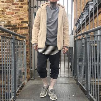 How to wear: black sweatpants, beige horizontal striped crew-neck t-shirt, grey long sleeve shirt, tan fleece hoodie