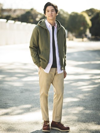 How to wear: khaki chinos, black crew-neck t-shirt, pink long sleeve shirt, olive hoodie