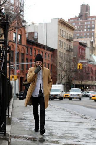 How to wear: black jeans, charcoal crew-neck t-shirt, white long sleeve shirt, camel overcoat