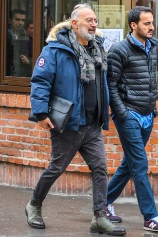 How to wear: charcoal skinny jeans, black crew-neck t-shirt, black long sleeve shirt, blue parka