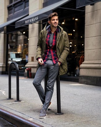 How to wear: grey dress pants, white and black horizontal striped crew-neck t-shirt, navy and red plaid flannel long sleeve shirt, olive parka