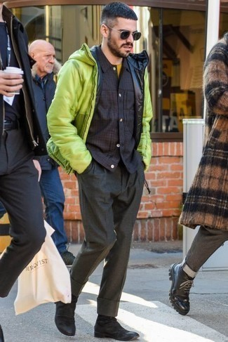 Men's Looks & Outfits: What To Wear In Cold Weather: A green-yellow puffer jacket and charcoal dress pants are essential in any modern gent's closet. Don't know how to finish? Enter a pair of black suede chelsea boots into the equation for a more relaxed aesthetic.