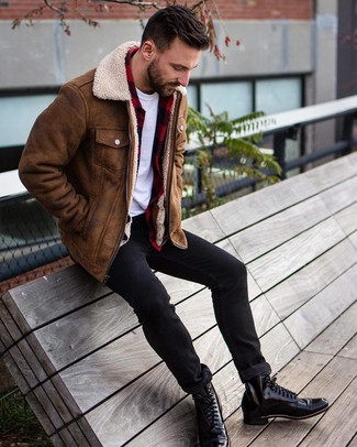 How to wear: black skinny jeans, white crew-neck t-shirt, red and black check flannel long sleeve shirt, brown shearling jacket