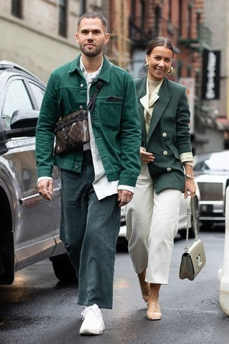 How to Wear White Athletic Shoes For Men: For an ensemble that's very simple but can be smartened up or dressed down in plenty of different ways, choose a dark green shirt jacket and teal corduroy chinos. A trendy pair of white athletic shoes is an easy way to bring a sense of stylish casualness to this ensemble.