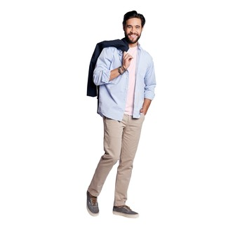 How to wear: beige chinos, pink crew-neck t-shirt, light blue long sleeve shirt, navy trenchcoat