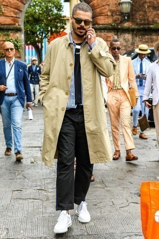 How to Wear a Tan Trenchcoat For Men: Infuse a hint of laid-back elegance into your current arsenal with a tan trenchcoat and black chinos. To give your look a more laid-back twist, why not introduce white leather low top sneakers to the mix?