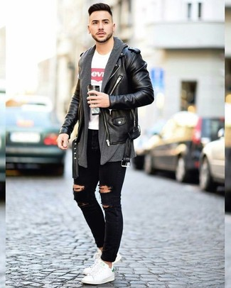 How to wear: black ripped skinny jeans, white and red print crew-neck t-shirt, charcoal open cardigan, black leather biker jacket