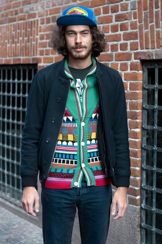 How to wear: teal jeans, dark green print crew-neck t-shirt, green geometric shawl cardigan, dark green bomber jacket