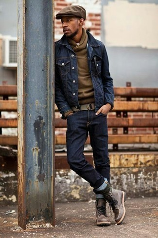 How to Wear Dark Green Socks For Men: A navy denim jacket and dark green socks are awesome menswear staples to have in your casual routine. To bring a bit of fanciness to your outfit, add a pair of brown leather casual boots to the mix.