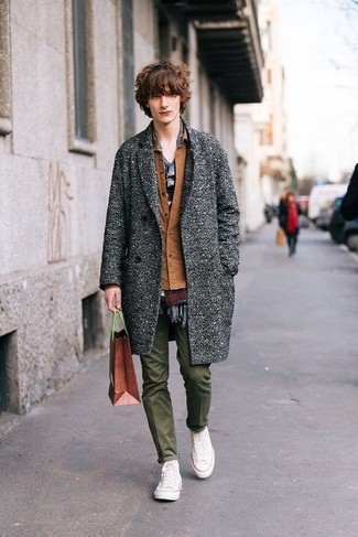 How to wear: olive chinos, grey crew-neck t-shirt, brown shirt jacket, grey overcoat