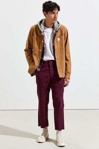 How to Wear Purple Chinos: A burgundy plaid flannel shirt jacket and purple chinos are a nice combo worth incorporating into your casual styling routine. And if you want to easily dress down your ensemble with one item, complement your look with white canvas high top sneakers.