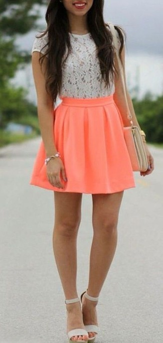 How to wear: white lace crew-neck t-shirt, orange skater skirt, grey leather heeled sandals, beige leather crossbody bag