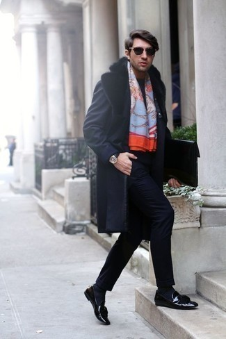 How to Wear Black Leather Tassel Loafers: This classy pairing of a navy fur collar coat and a navy suit is a common choice among the sartorially superior gents. Introduce a pair of black leather tassel loafers to the mix to easily kick up the cool of this look.