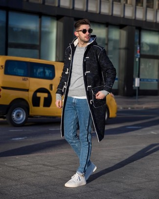 How to wear: blue jeans, white crew-neck t-shirt, grey sweatshirt, charcoal duffle coat