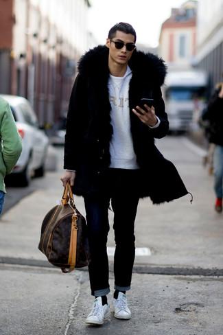 How to wear: black jeans, white crew-neck t-shirt, grey print sweatshirt, black parka