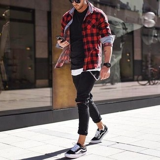How to wear: black ripped skinny jeans, black crew-neck t-shirt, white tank, red and black gingham long sleeve shirt
