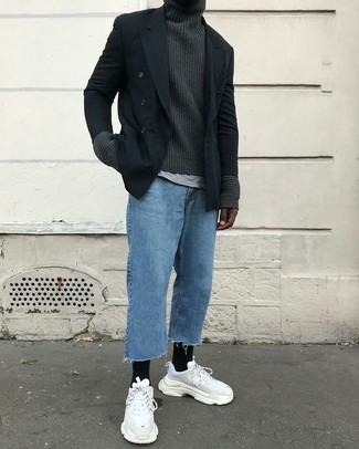 How to wear: blue jeans, grey crew-neck t-shirt, charcoal knit turtleneck, black double breasted blazer