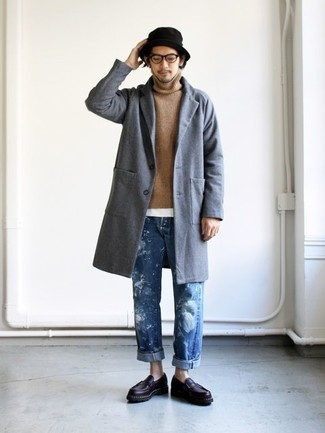 How to wear: blue jeans, white crew-neck t-shirt, tan turtleneck, grey overcoat