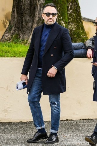 Fashion for Men Over 40: What To Wear: For a look that brings function and style, try pairing a black overcoat with navy ripped jeans. For a more elegant take, why not complement your ensemble with black leather derby shoes?