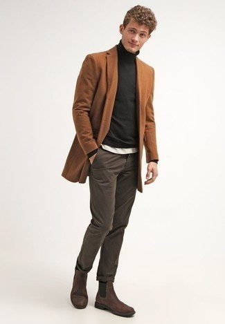 How to Wear Dark Brown Suede Chelsea Boots For Men: This combination of a tobacco overcoat and dark brown chinos will add masculine essence to your ensemble. Rounding off with a pair of dark brown suede chelsea boots is the most effective way to introduce a little depth to this look.