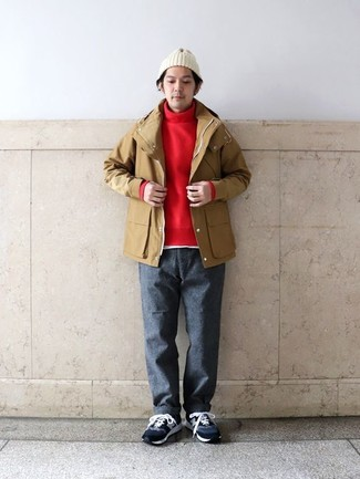 How to wear: charcoal wool chinos, white crew-neck t-shirt, red turtleneck, tan raincoat