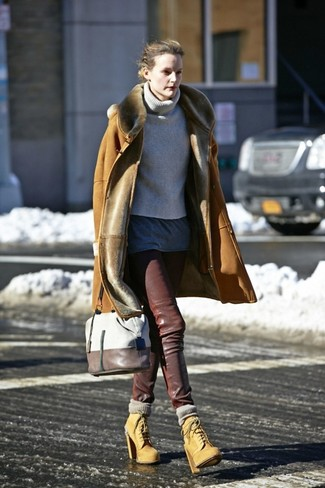 How to wear: dark brown leather skinny pants, charcoal crew-neck t-shirt, grey knit turtleneck, tan shearling coat