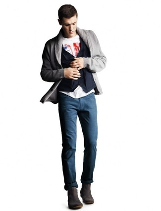 How to wear: navy chinos, white and red print crew-neck t-shirt, navy cotton waistcoat, grey shawl cardigan