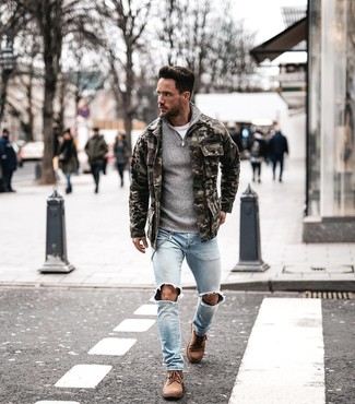 How to wear: light blue ripped skinny jeans, white crew-neck t-shirt, grey zip neck sweater, olive camouflage field jacket