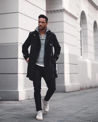 How to wear: black chinos, white crew-neck t-shirt, grey zip neck sweater, black overcoat